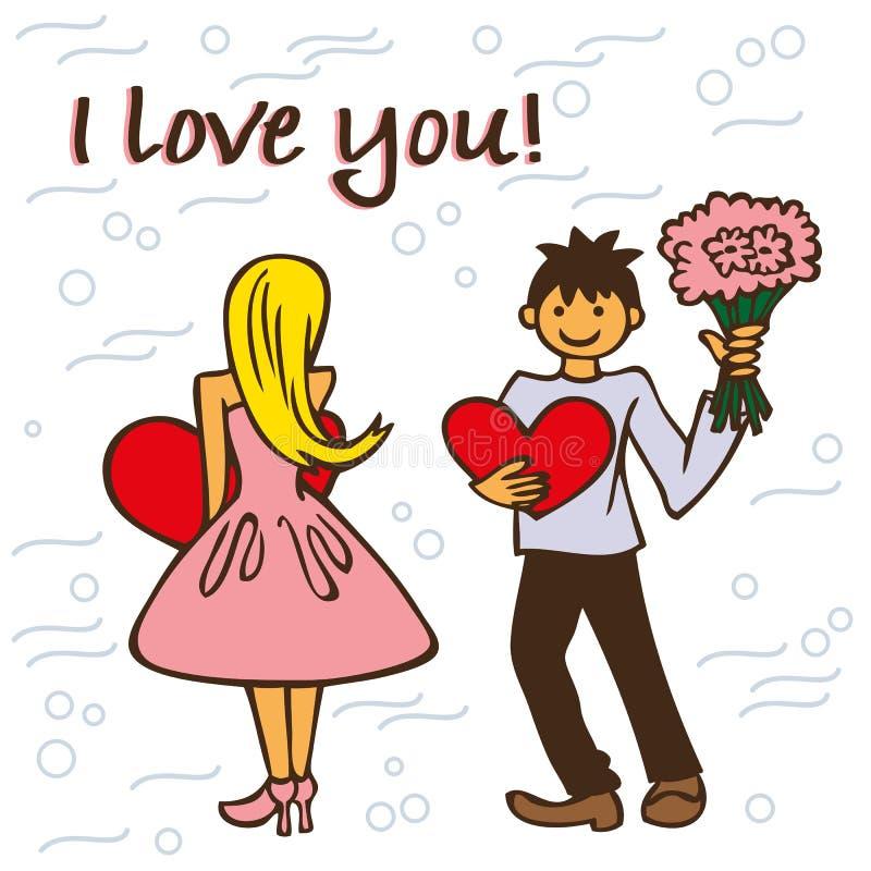 Mężczyzna i kobieta w miłości ilustracji