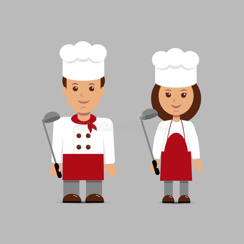 Mężczyzna i kobieta w postaci szefów kuchni ilustracji