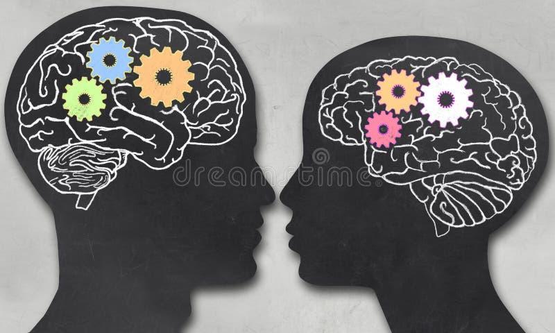 Mężczyzna i kobieta z Pracującym mózg ilustracja wektor