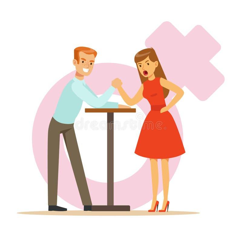 Mężczyzna i kobieta z ręka spinającym ręki zapaśnictwem, dziewczyna stawać twarzą w twarz jej chłopaków kolorowych charaktery wek ilustracji