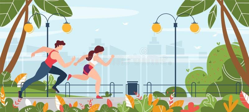 Mężczyzna i kobieta zaangażowana w działalność fitness w parku ilustracji
