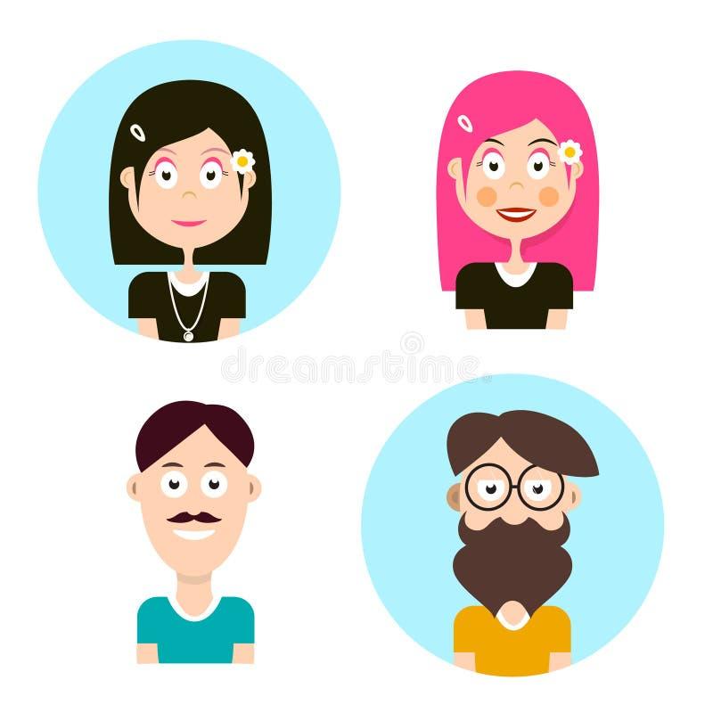 Mężczyzna i kobiety avatars Wektorowi ludzie charakterów royalty ilustracja