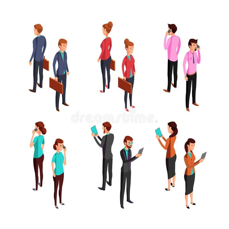 Mężczyzna i kobiety biznesmen Isometric 3d kobiety i samiec biura trwanie młodzi persons Wektorowi charaktery ustawiający royalty ilustracja