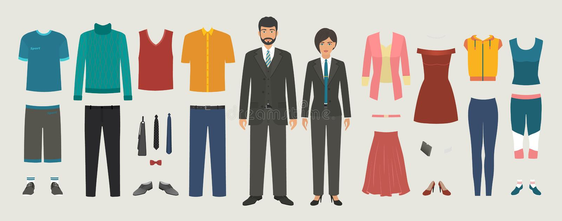 Mężczyzna i kobiety charaktery z biznesem, przypadkowym, sport odzieży set royalty ilustracja