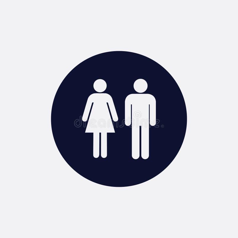 mężczyzna i kobiety ikona, wektorowa ilustracja Płaska round ikona royalty ilustracja