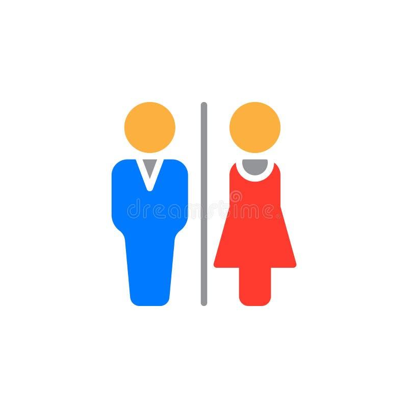 Mężczyzna i kobiety ikony toaletowy wektor, wypełniający mieszkanie znak, stały kolorowy piktogram odizolowywający na bielu ilustracja wektor