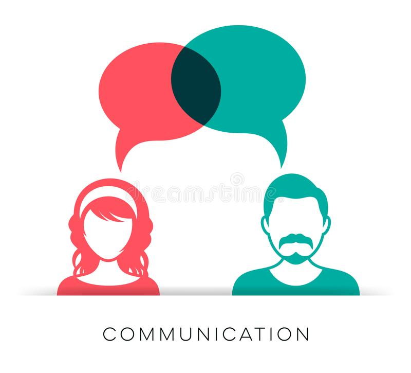 Mężczyzna i kobiety komunikaci ikona royalty ilustracja