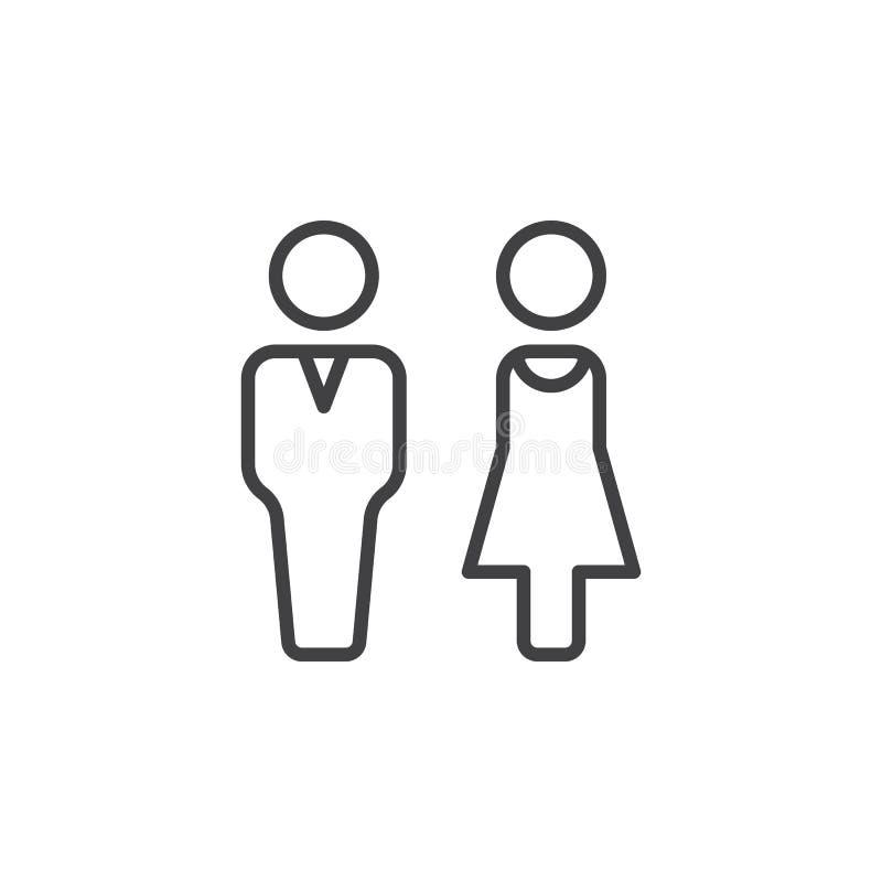 Mężczyzna i kobiety kreskowa ikona, konturu wektoru znak, liniowy piktogram odizolowywający na bielu royalty ilustracja