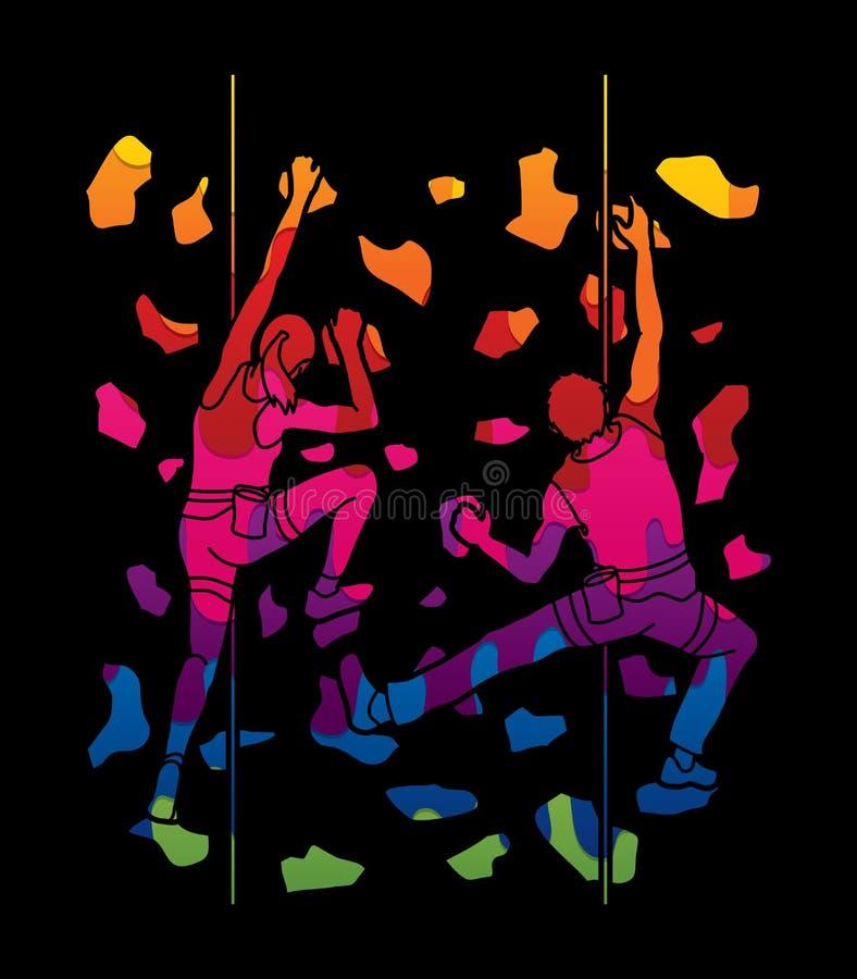 Mężczyzna i kobiety pięcie na ścianie wpólnie, Wycieczkować salowy royalty ilustracja