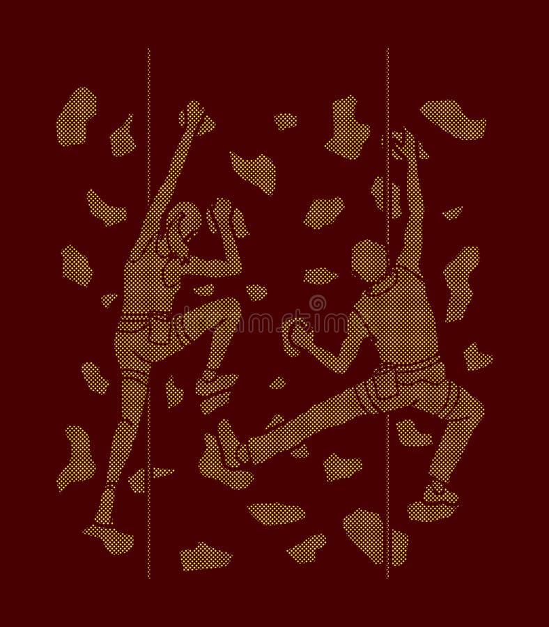 Mężczyzna i kobiety pięcie na ścianie wpólnie, Wycieczkować salowy ilustracji