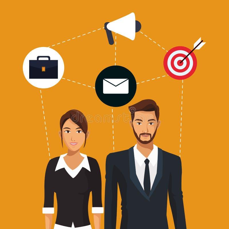 Mężczyzna i kobiety pracownika pracy zespołowej biznesowe ikony ilustracja wektor