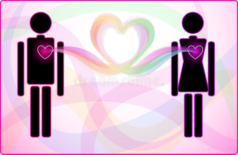 Mężczyzna i kobiety serca związek royalty ilustracja
