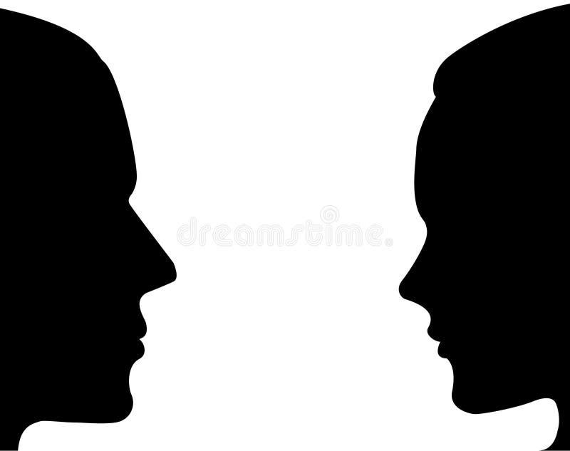 Mężczyzna i kobiety sylwetki twarz ilustracji