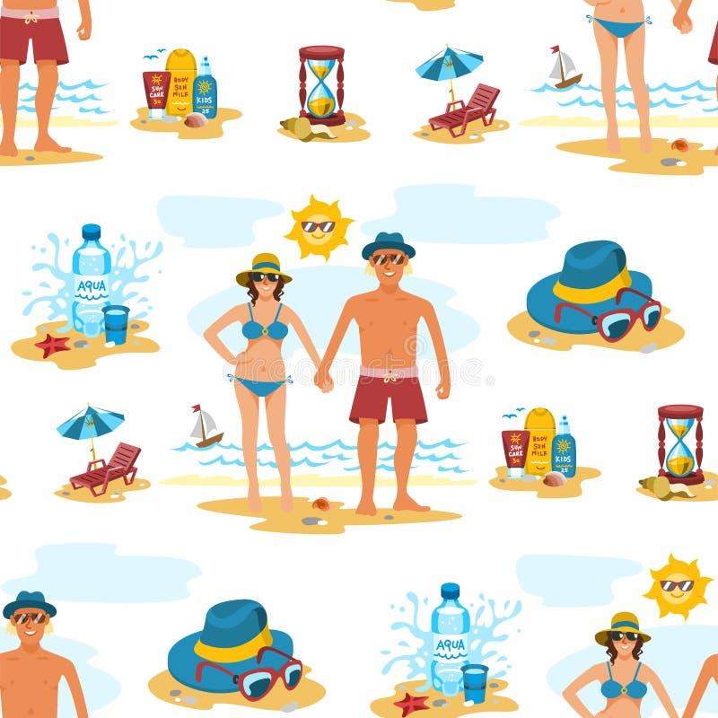 Mężczyzna i kobiety tła pary wakacje lata bezszwowy deseniowy czas na plażowego piaska natury tropikalnym wektorze ilustracji