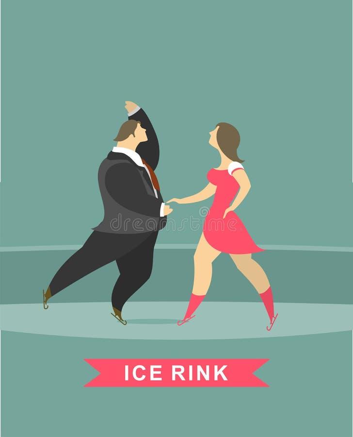 Mężczyzna i kobiety taniec na lodzie ilustracji