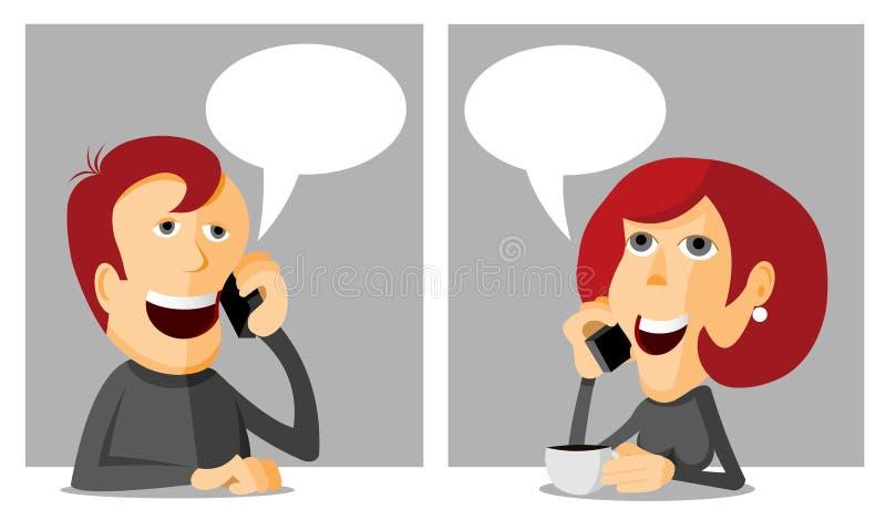 Mężczyzna i kobiety telefonowanie royalty ilustracja