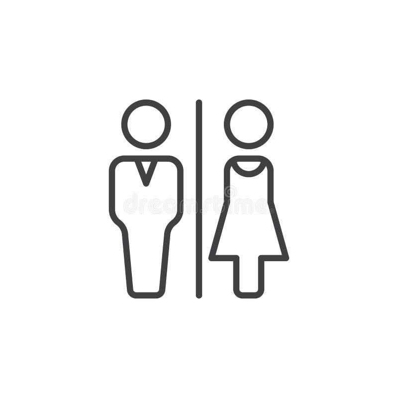 Mężczyzna i kobiety toaleta wykłada ikonę, konturu wektoru znak, liniowy piktogram odizolowywający na bielu royalty ilustracja