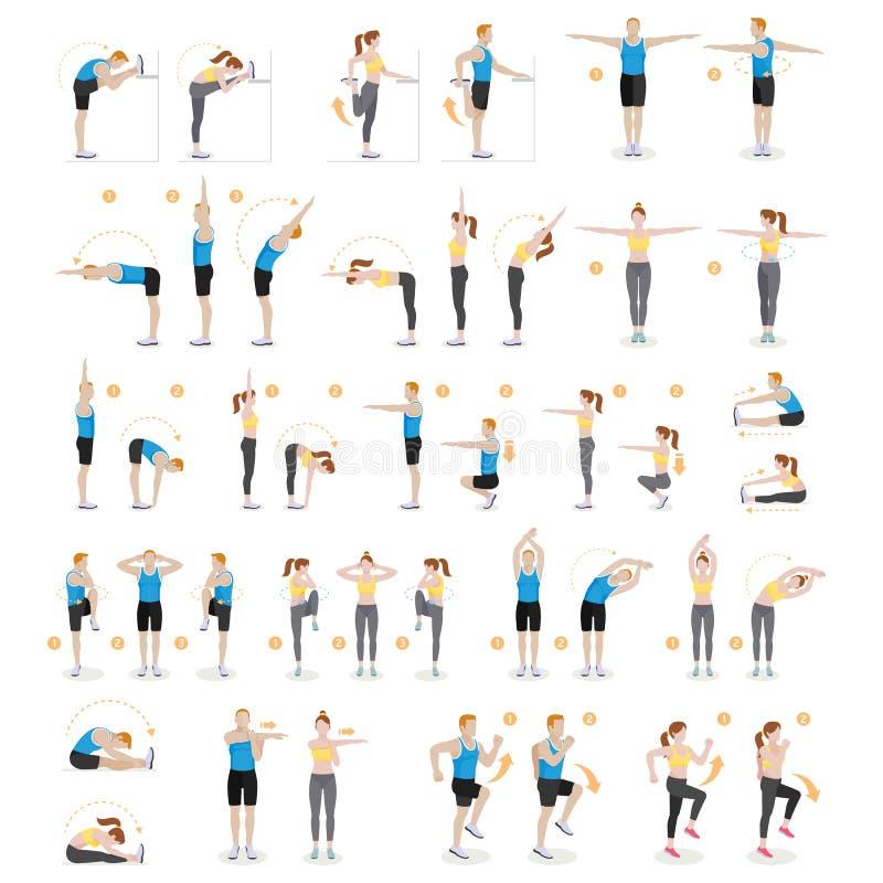 Mężczyzna i kobiety treningu sprawność fizyczna aerobik i ćwiczenia, wektor ilustracji