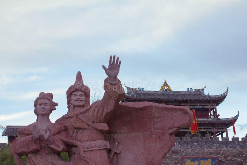 Mężczyzna i kobiety w Songpan miasteczku, Chiny fotografia stock