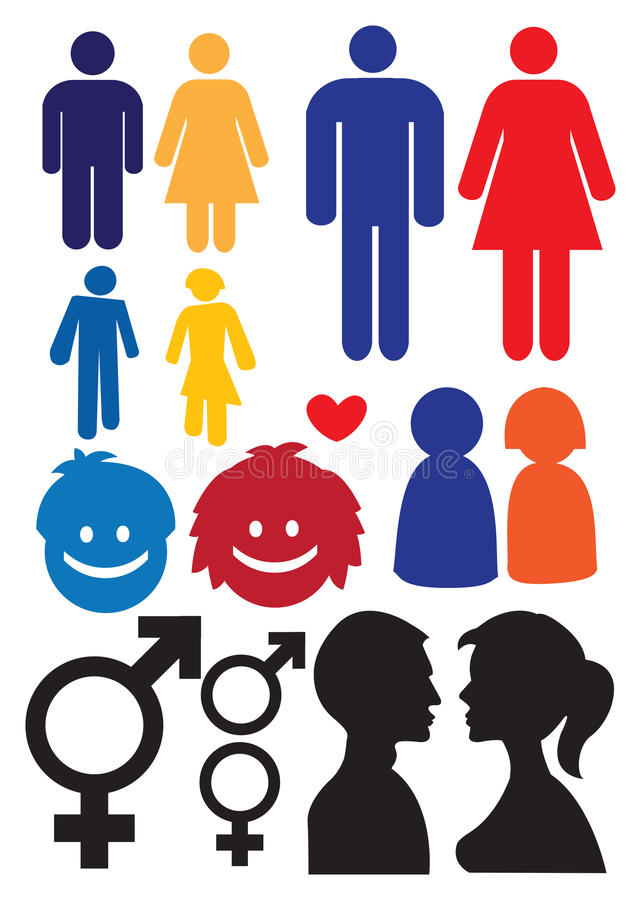 Mężczyzna i kobiety związek symbole ilustracji
