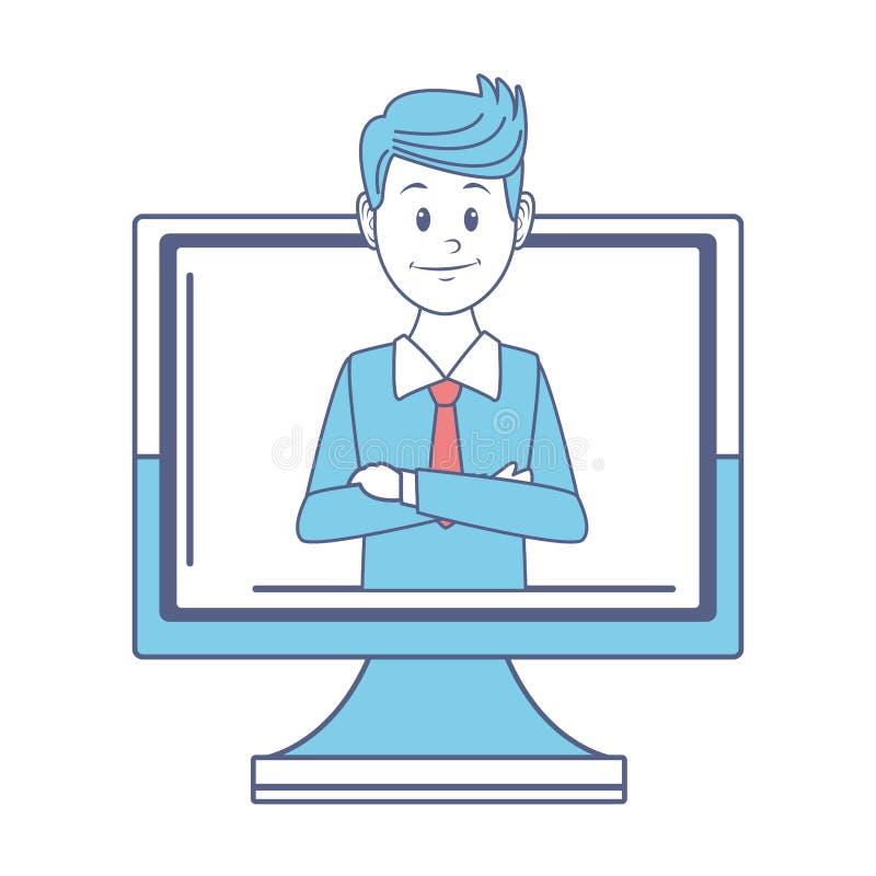 Mężczyzna i Komputer ilustracja wektor