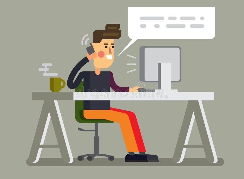 Mężczyzna i komputer osobisty w biurze royalty ilustracja