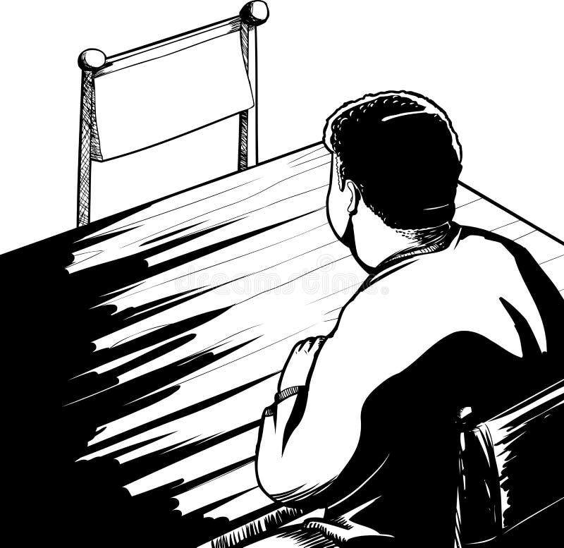 Mężczyzna i Opróżnia krzesło kontur ilustracja wektor