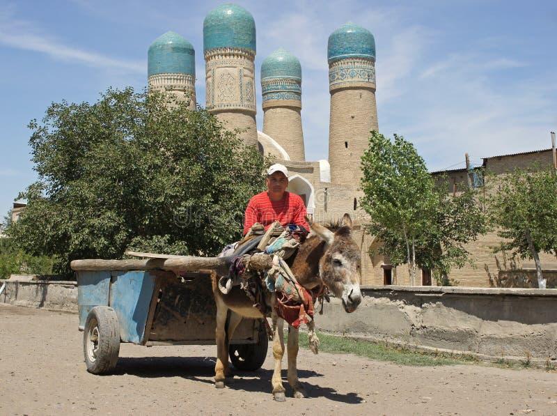 Mężczyzna i osioł przed madrassa Chor nieletni, Bukhara, Uzbekistan obraz royalty free