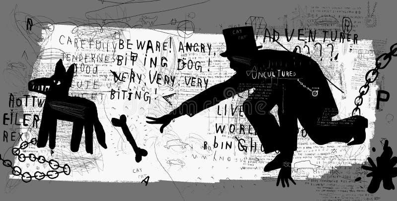 Mężczyzna i pies ilustracja wektor