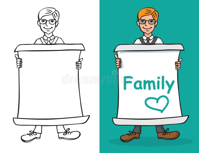Mężczyzna i prześcieradła papier z wpisową rodziną ilustracji