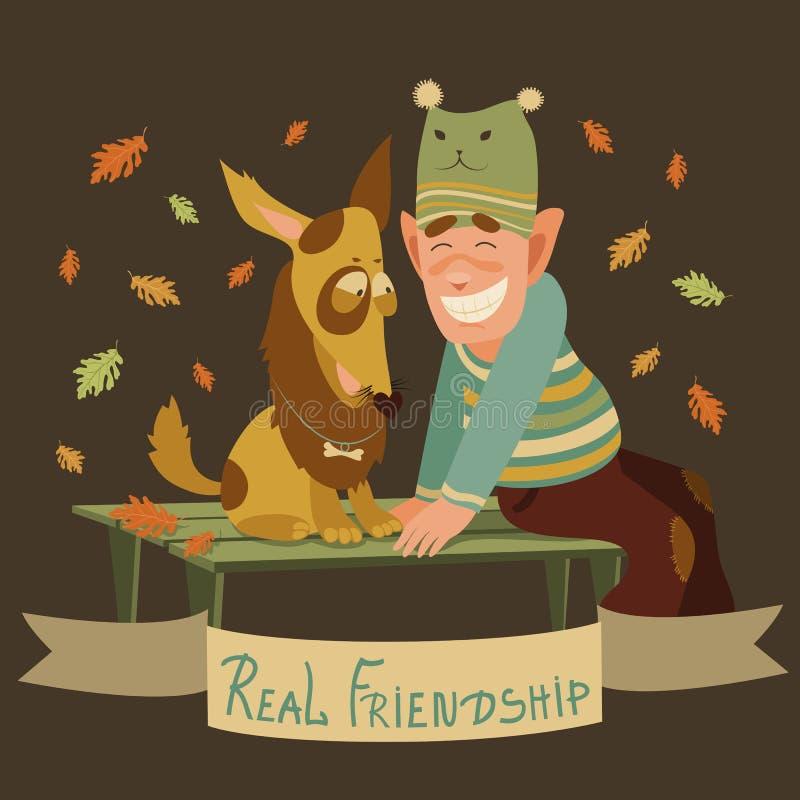 Mężczyzna i psa przyjaźń ilustracji
