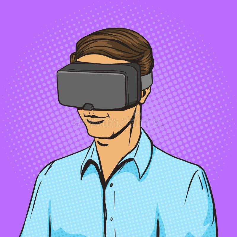 Mężczyzna i rzeczywistość wirtualna przyrządu komiksu wektor ilustracja wektor