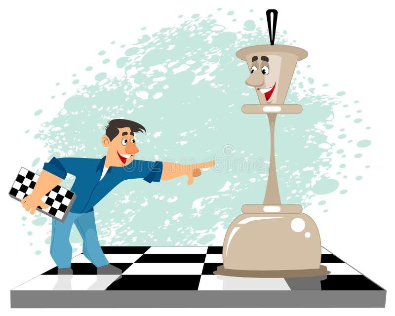Mężczyzna i szachowa postać ilustracja wektor