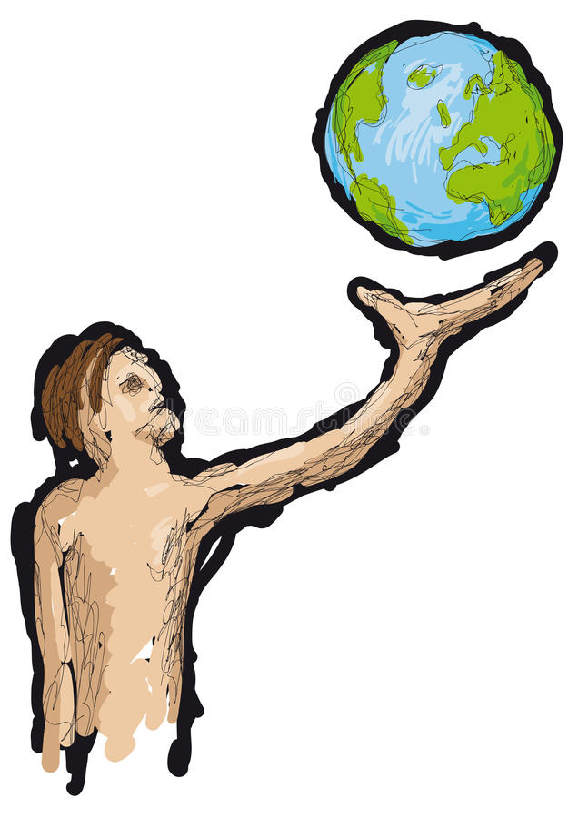 Mężczyzna i ziemia royalty ilustracja