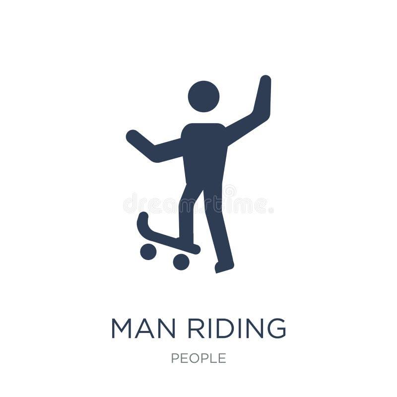 mężczyzna jazda Jeździć na deskorolce ikonę Modny płaski wektorowy mężczyzna jedzie Ska royalty ilustracja