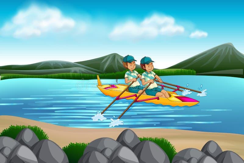 Mężczyzna jazdy czółno w jeziorze ilustracja wektor