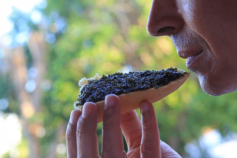 Mężczyzna je kanapkę z czarnym kawiorem obrazy stock