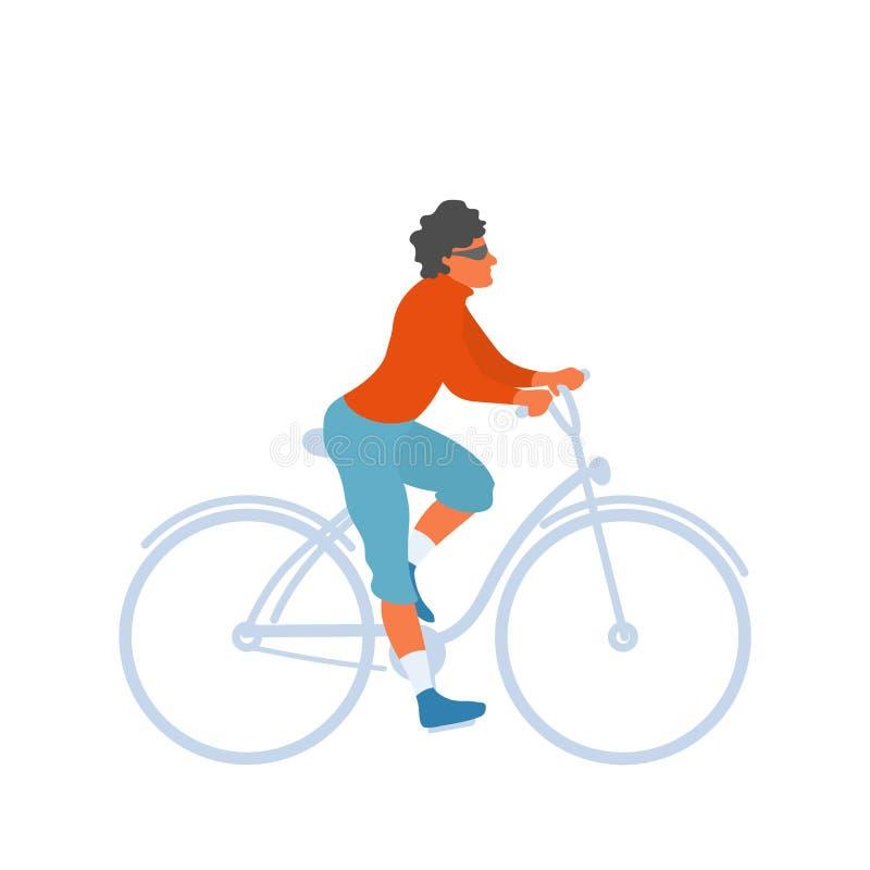 Mężczyzna jedzie bicykl, osoba na rower przejażdżce ilustracja wektor