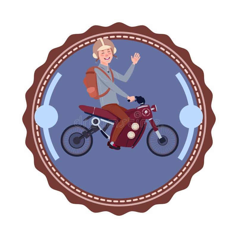 Mężczyzna Jedzie Nowożytną Halną motocyklu rocznika loga projekta ikonę Odizolowywającą ilustracji