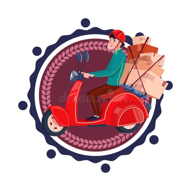 Mężczyzna Jedzie Retro ikona Odizolowywającego hulajnoga Doręczeniowej usługa szablonu loga Dostarcza pudełka ilustracja wektor