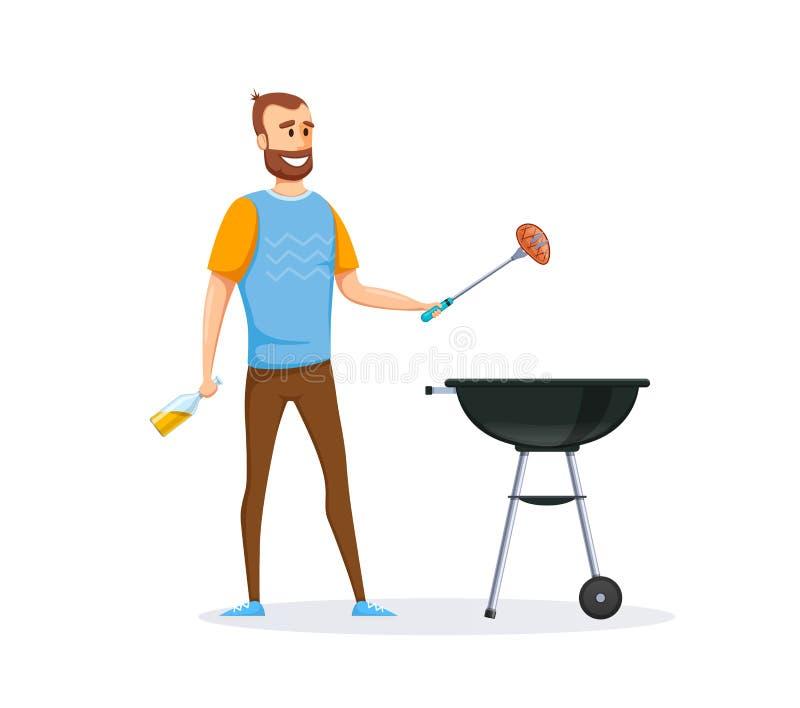 Mężczyzna jest przygotowywać świeży, soczysty, wyśmienicie mięsny stek na grillu, royalty ilustracja