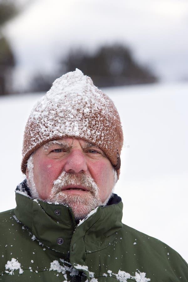 Mężczyzna Jest ubranym śnieg Zakrywającą nakrętkę fotografia stock