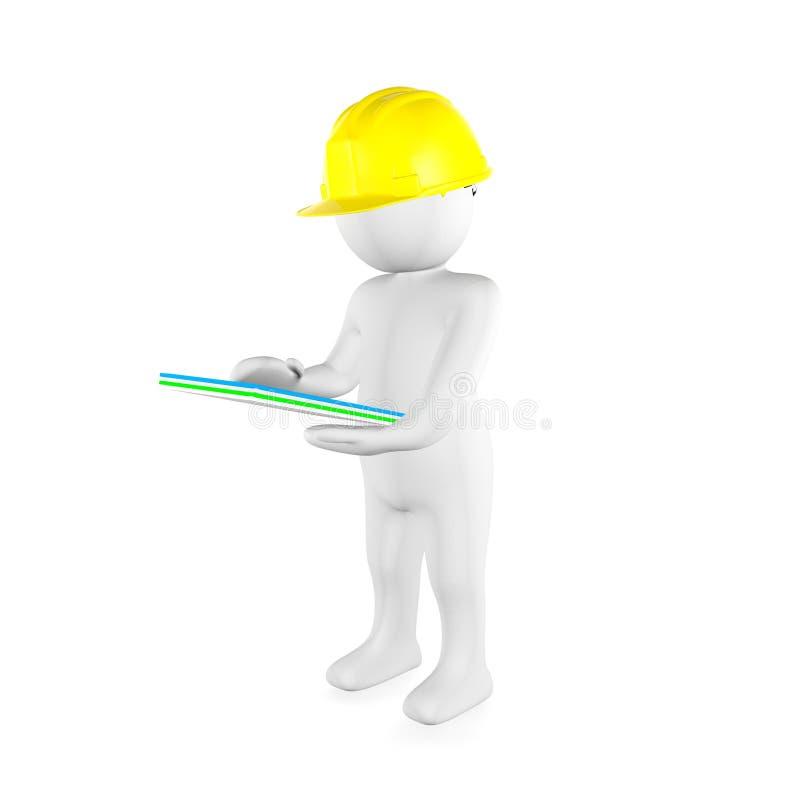 Mężczyzna jest ubranym żółtego zbawczego hełm czyta dokumenty ilustracja wektor