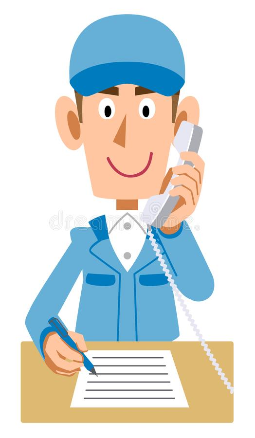 Mężczyzna jest ubranym Błękitnych pracujących ubrania pisze handwriting podczas gdy dzwoniący ilustracji