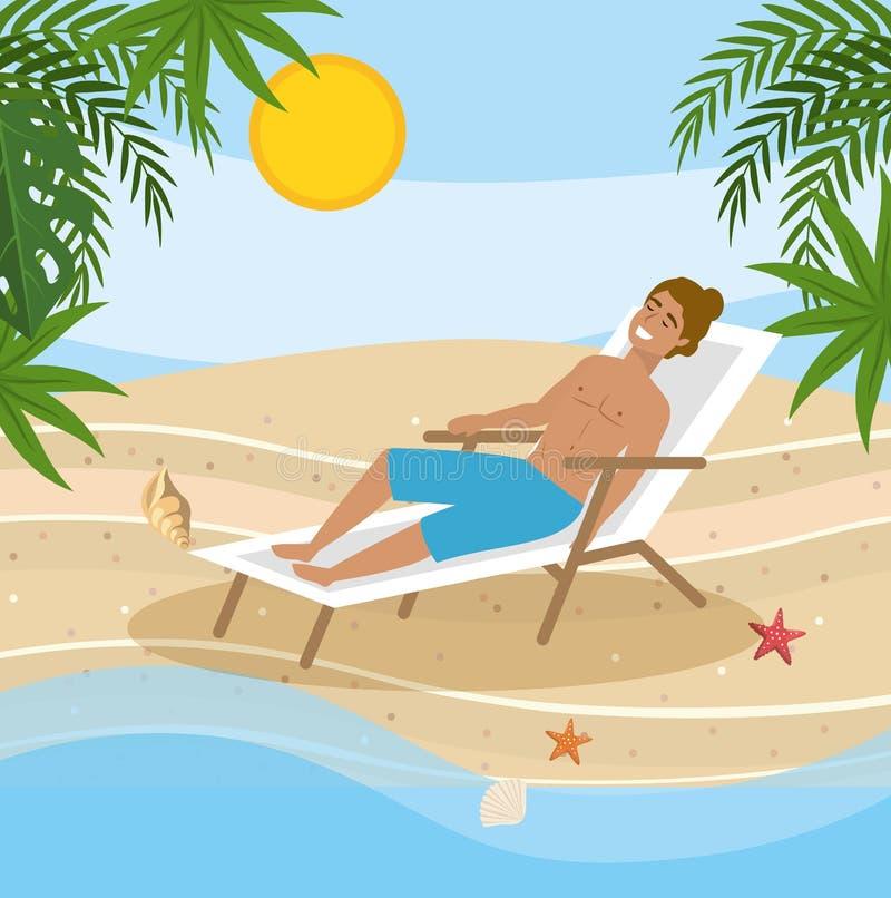 Mężczyzna jest ubranym kąpanie skróty i bierze słońce w skórniczym krześle ilustracji