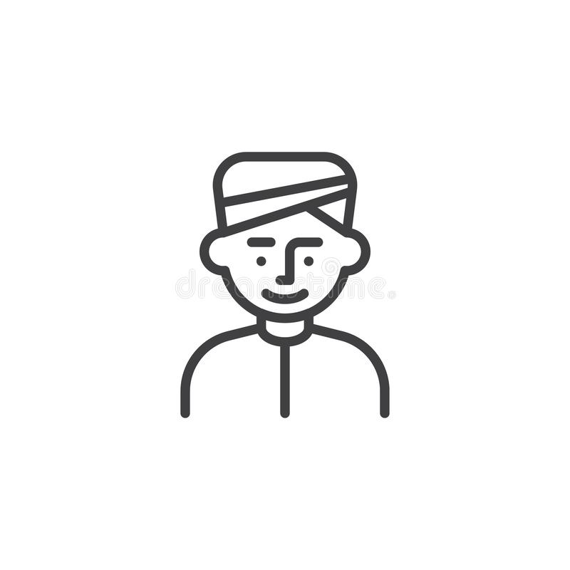 Mężczyzna jest ubranym turban kreskową ikonę ilustracji