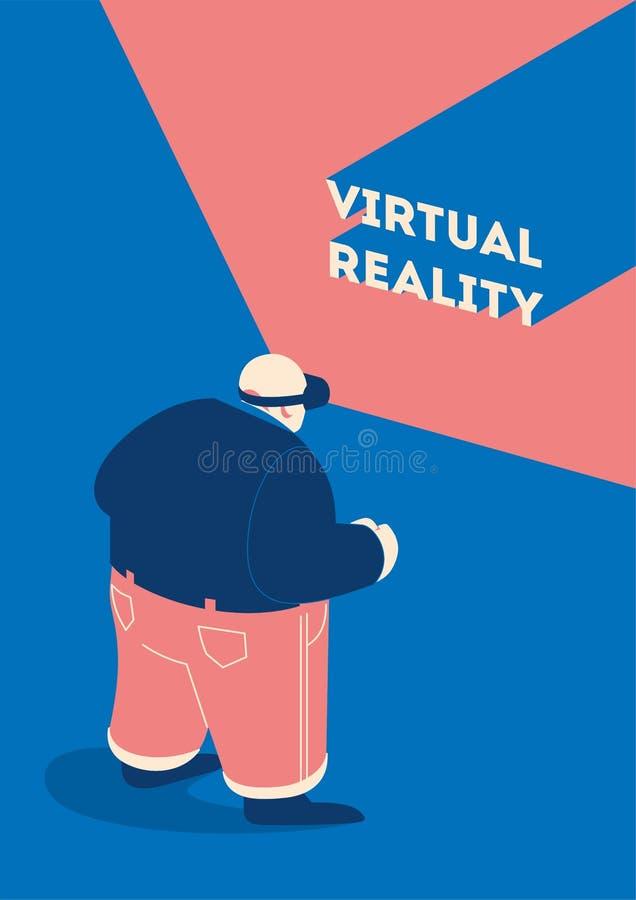 Mężczyzna jest ubranym VR, rzeczywistość wirtualna gogle, szkła royalty ilustracja