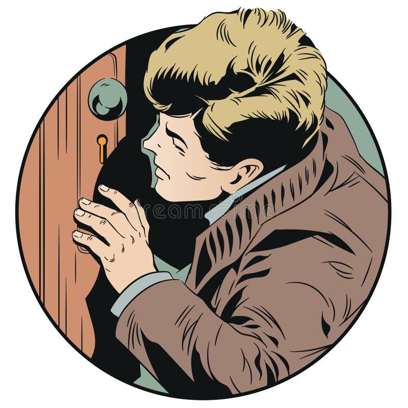 Mężczyzna jest zerkaniem w keyhole tła jaskrawy ilustracyjny pomarańcze zapas royalty ilustracja