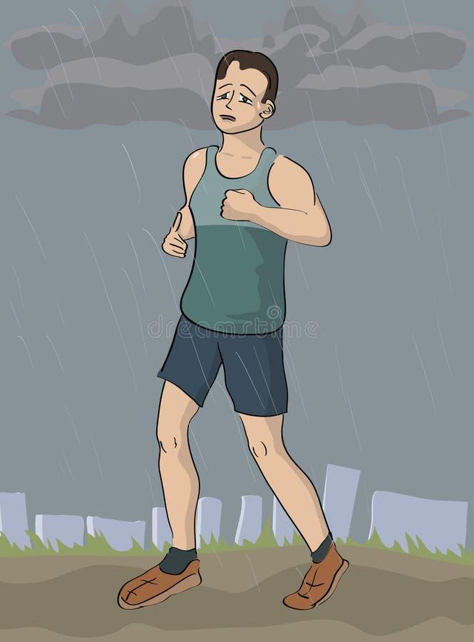 Mężczyzna jogging w deszczu royalty ilustracja
