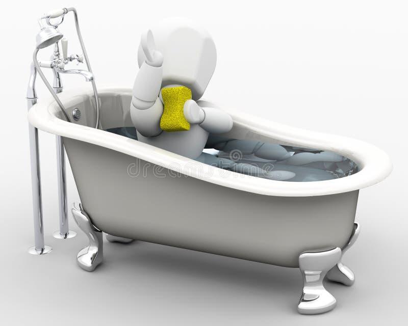 mężczyzna kąpielowy zabranie ilustracji
